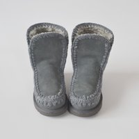 Wholesale High Quality New Arrival MOU Snow Boots Real cowhide leather Brand Boots for Women Sewing Boots MOU grey