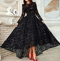 Cheap Top Quality Black Lace High Low Evening Dresses A Line High Neck Long Sleeve Plus Size Dresses Party Evening Formal Prom Gowns LA