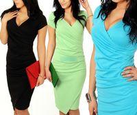 plus size clubwear - Fashion Sexy Women s Plus Size Dress Cocktail Clubwear Bodycon Mini Dress Evening Party V Neck Pleated Ruffles Dressy Sugar Color J4631