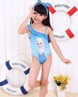 Wholesale 6pcs Cute baby girl frozen elsa one piece suspenders swimwear little girl carton braces lace swimsuit beach bathing suit