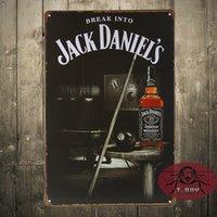 aluminum break metal - Metal sign BREAK INTO Jack Dan Black Metal Tin Sign Bar Pub Tavern Wall Decor