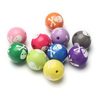 Wholesale Newest mm Chunky Gumball Skull Printed Acrylic Solid Beads For Kids Toddler Bubblegum Necklace Jewelry Making