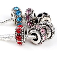 Wholesale 50pcs Mixed color Rhinestones Tibetan Silver Plated Charms Spacer Beads fit European Snake Chain Bracelet DIY