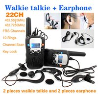 Wholesale T Channels Monitor Function piece Mini Walkie Talkie Travel Two Way Radio Intercom piece Earphone and Retail box