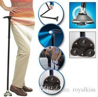 Wholesale Portable Sturdy Cane folding Cane with bulit in lights The old man walking stick free DHL