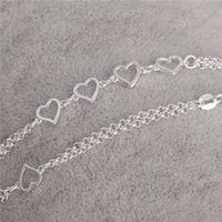 beach anklets - Newest PC Sterling Silver Love Heart jewelry accessories women Sexy beach Anklet
