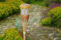 bamboo torches - Solar Outdoor LED Bamboo Torches Courtyard Garden Energy Saving Light Decorative Lights Drop Shipping