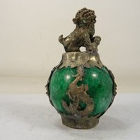 lion statue - old handwork collectible paperweight statue armored dragon phoenix lion