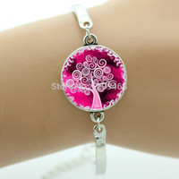 art ring fine - vintage bracelet for girls or women Glass cabochon dome life tree art picture charm bracelet fine jewelry free shippng OY14