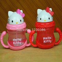 Wholesale Hello Kitty Children s Cups kids Cartoon Straw Water Bottle Baby Handgrip KCS Training Bottle