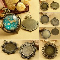 Wholesale Cameos Bulk - 50X Bulk Price Zinc Alloy Bronzed Color Pendant Blank with Inner 25mm Bezel Setting Tray for Glass Cameo Cabochons