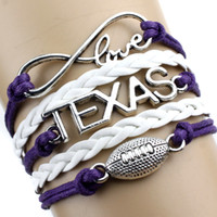 alloy fittings - Fashion charm jewelry TEXAS infinite love football The ancient silver alloy fittings bracelet kinds of styles to choose from