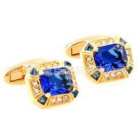 Wholesale Cufflinks popular clothing spot mixed batch of high end custom luxury series golden sapphire cufflinks French CZ