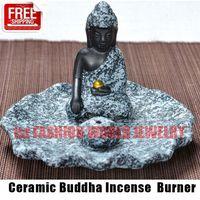 ceramic incense burner - Ceramic Buddha Incense Burner Aromatherapy Incense Holder for Incense Stick Incense Cone Buddha Craft Home Decor