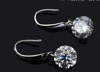 Wholesale New Silver Plated Dangle Earrings AAA Cubic Zirconia Crystal MM CZ Diamond Wedding Stud Earrings Jewelry for Women Girls