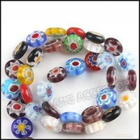 Wholesale 3strings Millefiori Lampwork Glass Beads Flower Loose Beads For Bracelet Necklace Making mm