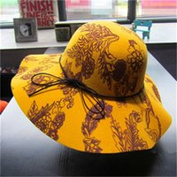 Wholesale 2015 New Winter Or Autumn High end Felt Hat Hats With Large Eaves For Female