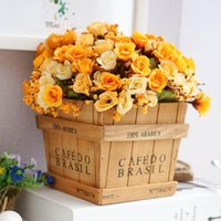 artifical wood - Retro Wood vase with silk flower cute artifical rose home office table decoration grass plant flowerpot storage box set