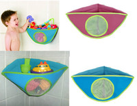 Wholesale Kids bath toys store bag four cupules to stick on the smooth tiles triagle design bath toy bag waterproof function baby bathing suplies