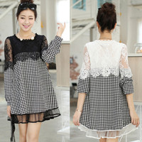 Wholesale Elegant Lace Houndstooth Maternity Dresses Casual Dress Spring Fall New Maternity Clothes for Pregnant Women Pregnancy Clothing