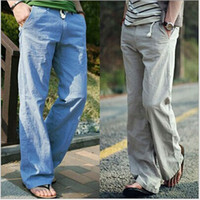Wholesale Plus size Summer new fashion loose breathable linen straight casual men outdoors pants color