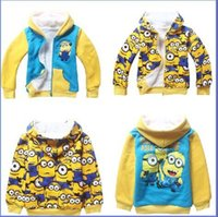 Wholesale Coral Boys Hoodies - DHL FEDEX Despicable Me Minions hoodie kids boys girls Thickening Coral Fleece Winter Warm hoodies sweatshirt childrens jacket coat E046