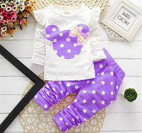 Wholesale 2015 new Spring Autumn children girls clothing sets minnie mouse clothes bow tops t shirt leggings pants baby kids suit