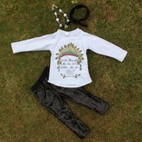 long feathers - 2016 new design quot Fierce quot feather long sleeves black sequins pants kids clothing girls clothes suit with matching accessories