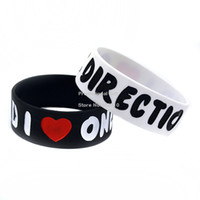 Unisex adult directions - 50PCS I Love One Direction D Wristband Silicon Bracelet quot Wide Band Adult Colours