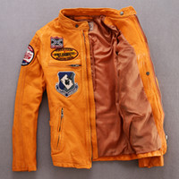 Wholesale AVIREX AERONAUTICS Man Slim leather Jacket The badges motorcycle clothing calfskin leather the flight suit punk jacket