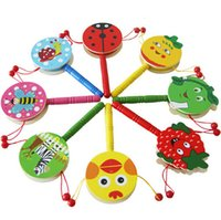 Wholesale Cartoon Wooden Animal Spinning Hand Drums Kids Rattles Birthday Party Bag Filler