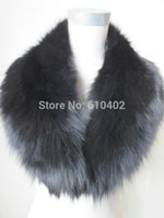 Wholesale Christmas gift Real fox fur collar scarf size cm cm Shawl Wrap Black