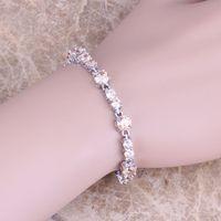 7.2 inch - High Quality Jewelry Orange Topaz Bracelets Sterling Silver Overlay Link Bracelet inch S0249