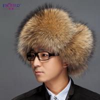Wholesale male winter fox lei feng cap snow cap fur hat for man genuine leather ear protector cap male