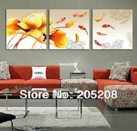 canvas picture frames - Framed Panel Large Panel Wall Art Picture Feng Shui Canvas Painting Koi Fish Home Decor XD00173