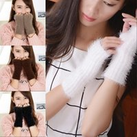 Wholesale Retail Mohair Fingerless Gloves Winter Knit Woolen Half Finger Glove Woman Girl Lady Daughter Christmas Gifts