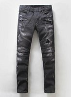 Wholesale Biker Jeans Special Offer Low Winter New European And American Brands Balmain Motorcycle Jeans Men Fold Stitching Slim Mens