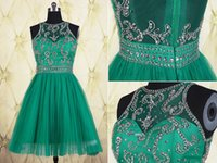 Wholesale 2016 Emerald Green Short Evening Dresses With Beaded Sequins Crew Collar See Through Back Formal Prom Dress Pleated Mini Evening Gowns