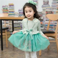 knit wear - Autumn new girl dress Knit gauze kids dress latest long sleeve knitted children s wear