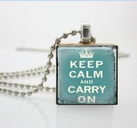 aa pendant - Womens Necklace Fashion Keep Calm Necklace Blue Scrabble Tile Pendant Ball Chain Necklace AA