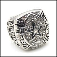 All'ingrosso-Alto Qualiity smalto nero cristallo Silver Gold Replica 1992 XXVII Dallas Cowboys Campionato Anello per Keepsake