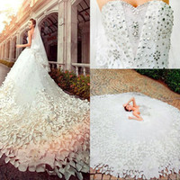 Wholesale 2016 Sweetheart Beaded Bling Bling Rhinestones Applique Flower A line Cathedral Train Pretty Bridal Gowns Vintage Wedding Dresses DL1311831