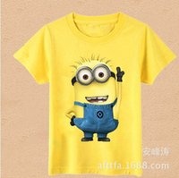 Cheap Wholesale-Free Shipping Cartoon Anime Figure Despicable Me Minions Clothes Minion Costume Children's Clothing Kid's Wear T-Shirts
