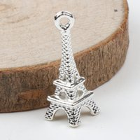 Traditional Charm plates - MIC Silver Plated Stylish D Paris Eiffel Tower Alloy Small Charms Pendants mm mm