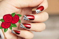 Wholesale Reality show arrogant sexy lady wine red super quality oblique French leopard false nails tips set