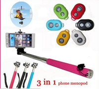 Cheap (3 in 1) Expandable stainless steel selfie stick+bluetooth+phone holder monopod for IOS Android phones camera selfie remote shutter