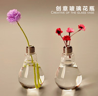 Wholesale 2pcs pack Glass vases home decoration Bulb vases wedding party decor clear flower vases bulb vase decor hanging pots planters simple design