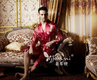 animal bridegroom - Retail Faux silk Chinese traditional style Men s Red embroidered Robe Bridegroom Sleepwear S2076