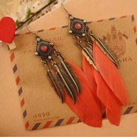 Cheap Cheap Jewelry Pendientes Largos Vintage Brincos Feather Leaves Earrings Wholesale Charms Drop Long Earrings For Women E150