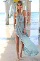 Cheap 2015 Sexy Women Holiday Summer Boho Long Maxi Evening Party Dress Beach Dresses Hot Halter sleeveless princess dress Sexy Split dress